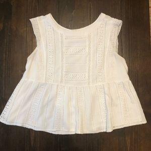 Merona white lace peplum cropped top
